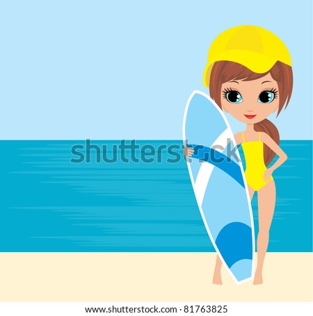 Pretty girl with a surfboard. vector, no gradient, color full