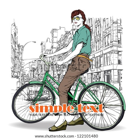 Pretty girl with bicycle on a street background. Vector illustration