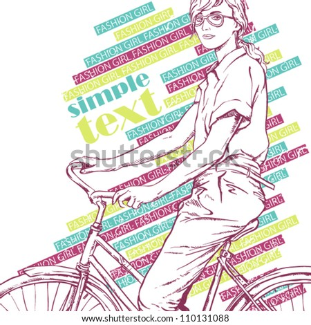 Pretty girl with bicycle. Vector illustration