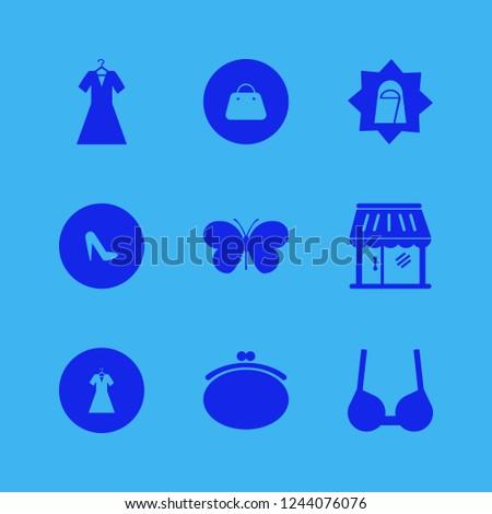 pretty icon. pretty vector icons set butterfly, handbag, arab woman and purse