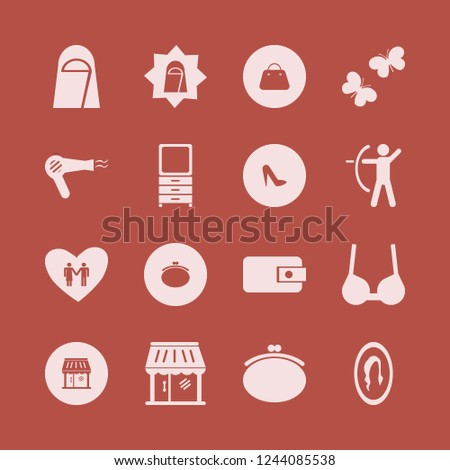 pretty icon. pretty vector icons set women shoes, hair dryer, archer and arab woman