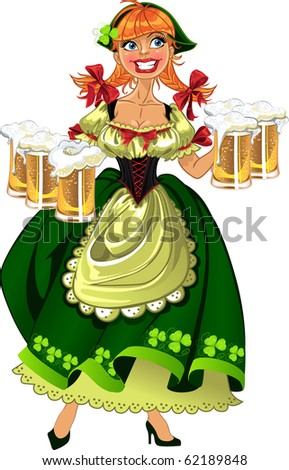Pretty leprechaun girl in green with beer