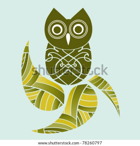 Pretty Owl and leaf - stock vector