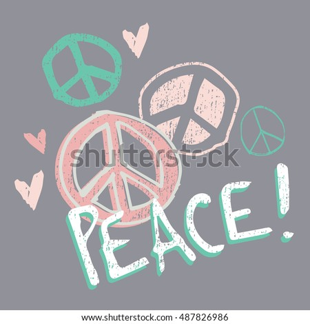 Pretty Pastel Peace! and Love - Baby/Toddler/Youth Girls T-shirt Graphic - Isolated Vector on Charcoal Grey Background