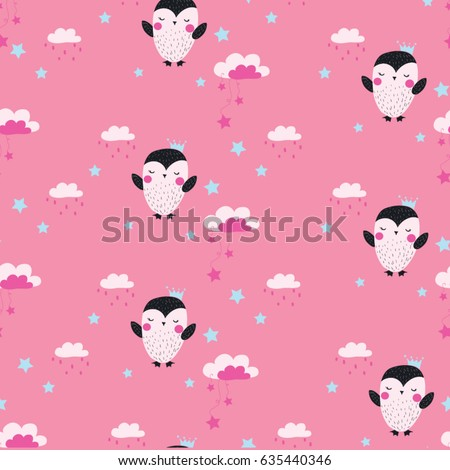 Stock Photo pretty penguin seamless pattern design for kids fashion