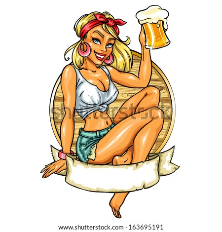 pretty pin up girl holding beer