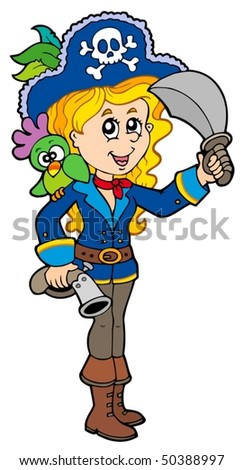 Pretty pirate girl with parrot - vector illustration.