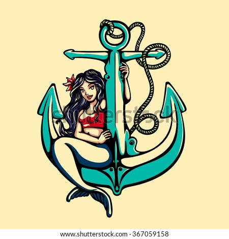 Pretty siren mermaid pin up girl sitting on anchor, sailor old school style tattoo vector illustration