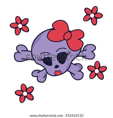 pretty skull witch crossbones