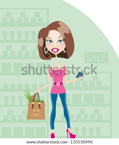 pretty smiling brunette woman in supermarket
