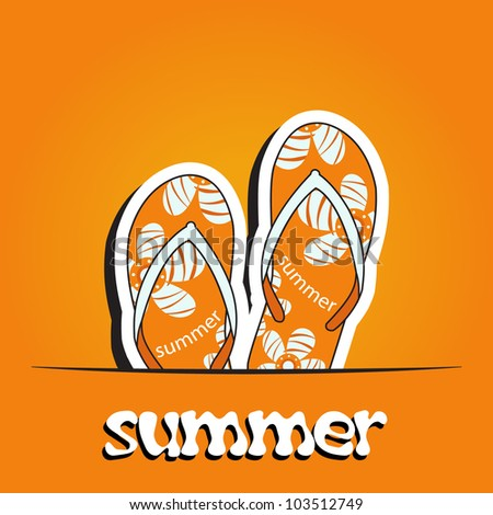 Pretty summer background with slippers, vector