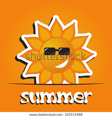 Pretty summer background with sun, vector