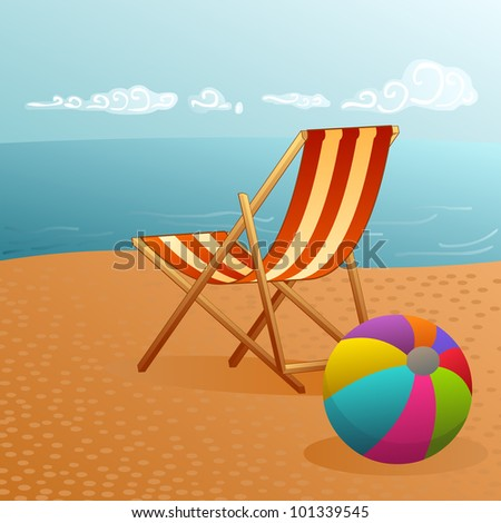 pretty summer landscape with deckchair and beach ball by the water - stock vector