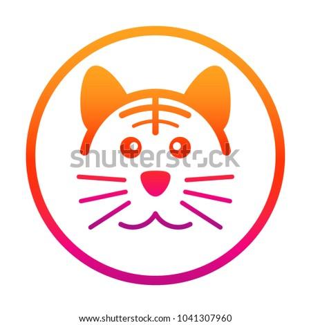 pretty tiger icon gradient shade