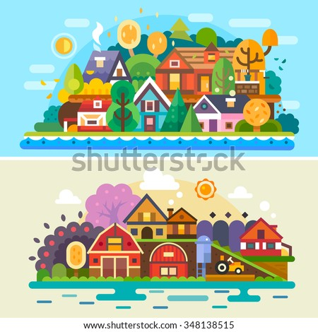 Pretty village summer and autumn landscapes: different cute and cozy houses, farm landscape, rural scenery. Flat vector illustration stock set.