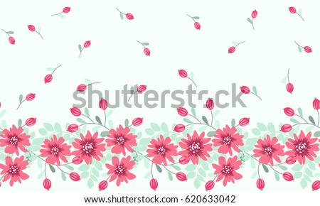 Pretty vintage feedsack border in small flowers, berries. Millefleurs. Floral sweet seamless background for textile, fabric, wallpapers, gift wrap, scrapbooking, quilting, decoupage. Satin print.
