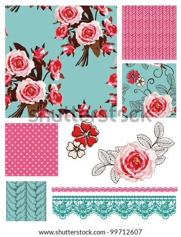 pretty vintage vector rose...