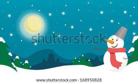 pretty winter night landscape