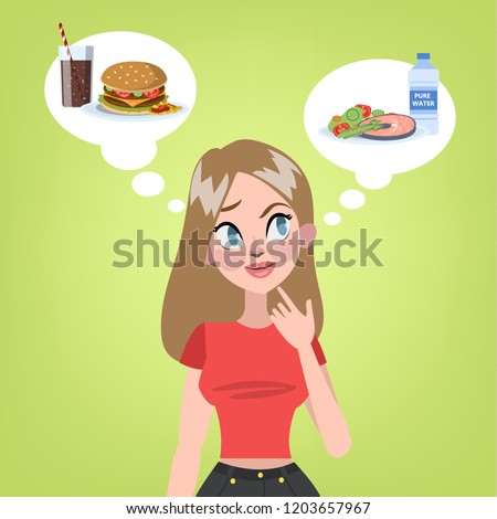 Pretty woman choosing between healthy food and unhealthy hamburger with soda. Hard decision. Junk food or diet. Vector flat illustration