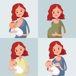 Pretty woman holding a newborn baby in her arms. Pregnant woman.Vector illustration. Flat design.