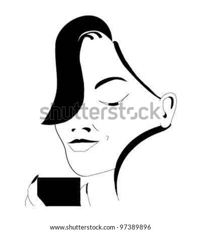 Pretty woman holding her mobile phone - stock vector
