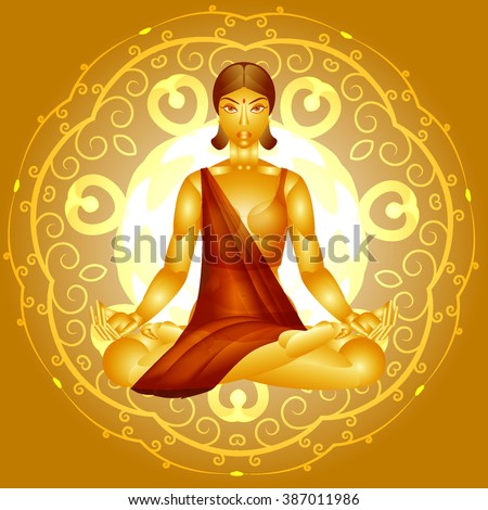 pretty woman in lotus position on the background of the