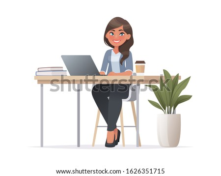 Pretty woman is sitting at  desktop. Office employee at the workplace. Work at the laptop. Vector illustration in cartoon style