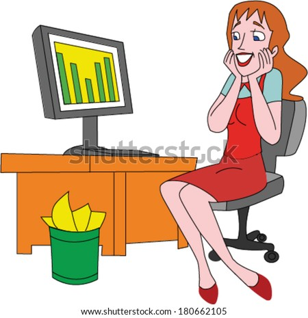 Pretty woman looking happy with sales numbers up on computer screen