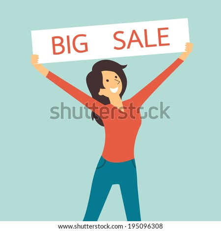 Pretty woman smiling and holding sale sign banner with word, big sale. You can write your own text or design in copy space.