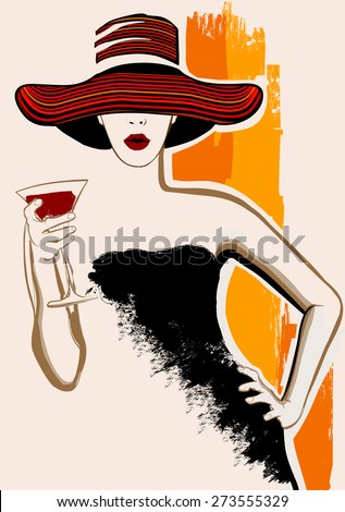 pretty woman with large hat