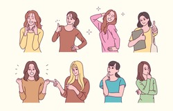 Pretty women characters with various expressions. hand drawn style vector design illustrations.