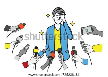 Pretty young celebrity in uniform of businessman, touching his hair, smiling, interviewed by journalist, news agent, press media, reporters. Outline, linear, thin line art design. - Shutterstock ID 725238181