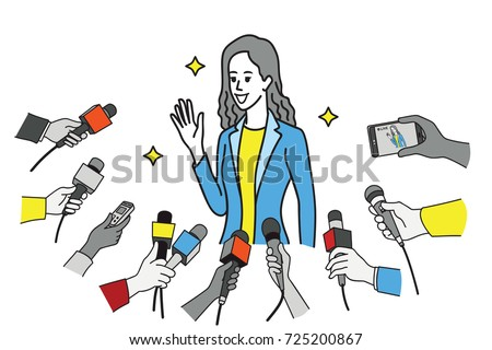 Pretty young celebrity in uniform of businesswoman, smiling and waving hand and get interviewed by journalist, news agent, press media, reporters. Outline, linear, thin line art design. - Shutterstock ID 725200867