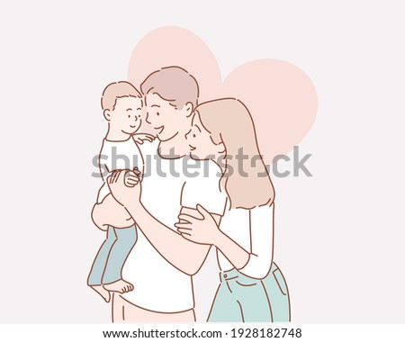Pretty young family. Hand drawn style vector design illustrations.