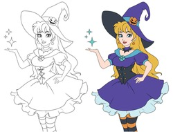 Pretty young witch. Announce Halloween Party. Hand drawn cartoon girl with blonde hair. Contour vector illustration for coloring book, children games, invitation cards, templeta etc.