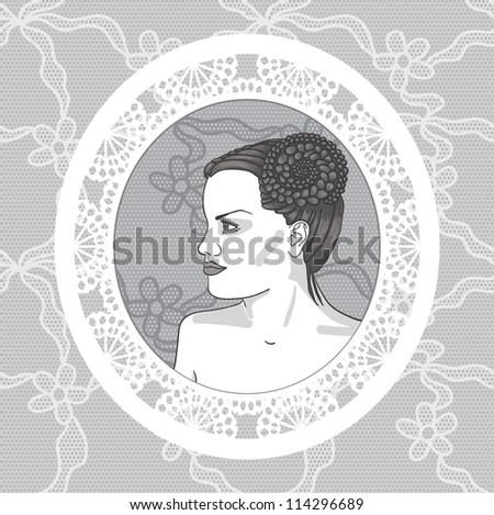 Pretty young woman in vintage lacy frame