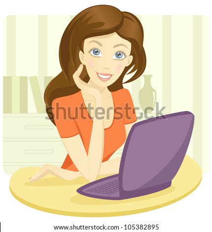 Pretty young woman sitting with a laptop