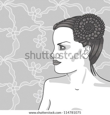 Pretty young woman with beautiful hair. Vector illustration.
