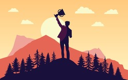 Prevail - Silhouette of man with raised hands trophy in front of sun. Landscape, nature and mountains in background. Winner, conquer, mission accomplished concept. Vector illustration. EPS