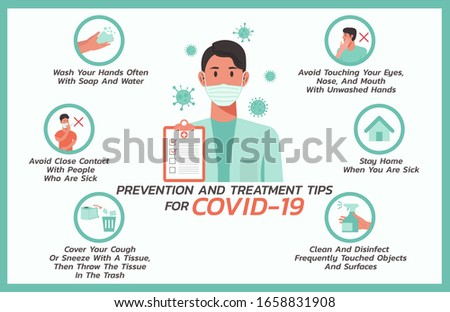 prevention and treatment tips for COVID-nineteen infographic, healthcare and medical about flu, fever and virus prevention, flat vector symbol icon, layout, template illustration in horizontal design