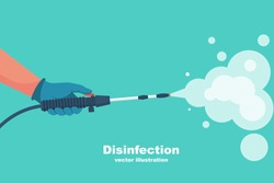 Prevention concept. Disinfection and cleaning. A man in chemical protection disinfects. Methods of controlling the epidemic of coronavirus. Vector illustration flat design. Cleaner in the hand.