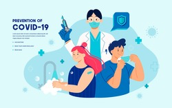 Prevention of Covid-19 promotion with vaccination, wearing face mask and washing hands regularly vector illustration