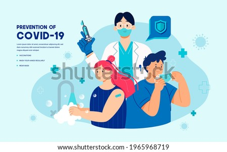 Prevention of Covid-19 promotion with vaccination, wearing face mask and washing hands regularly vector illustration Foto stock ©