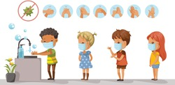 Prevents the flu and infection from the covid-19. Wear a mask. Wash your hands. Children wearing protective masks and children are queuing to wash their hands. Health care concept vector illustration