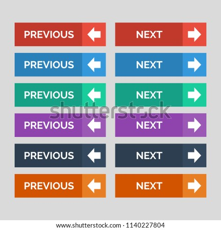 Previous and next flat buttons on grey background. Vector illustration