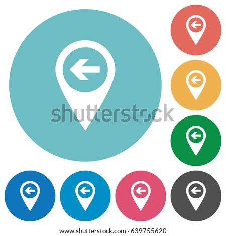 previous target gps map location flat white icons on round color backgrounds