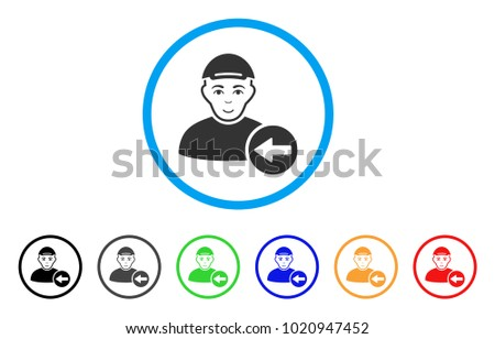 Previous User rounded icon. Style is a flat previous user grey symbol inside light blue circle with black, gray, green, blue, red, orange variants. Smiling previous user vector pictogram.