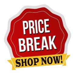 Price break label or sticker on white background, vector illustration