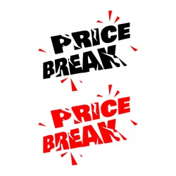 Price break stamp vector promotional template illustration on white background