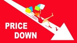 Price down concept illustration. Woman slides down an arrow.